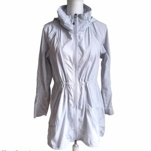 Athleta Utility Jacket Rain Hooded Gray Zip Up